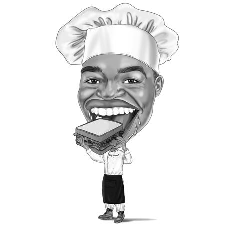 Person with Apron Caricature in High Exaggerated Black and White Cartoon Drawing Style - example
