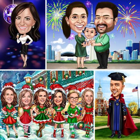 Any Holiday Full Body Caricature in Colored Style and Background - example