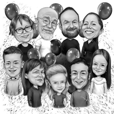 Family Caricature Hand Drawn in Monochrome Style from Photos for Birthday Gift - example