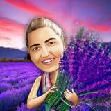 Colored Digital Mother Caricature Drawing featuring Custom Background