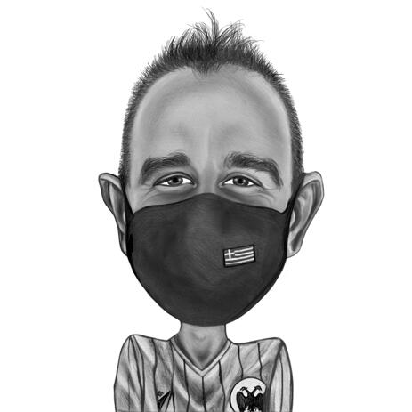 Black and White Style Coronavirus Themed Caricature - Person in Mask from Photos - example