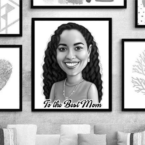 Mother's Day Custom Cartoon Print: Monochrome Cartoon Drawing from Photo - example