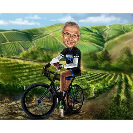 Bicyclist Caricature in Color Style with Nature Background for Cycling Cartoon Gift Idea - example