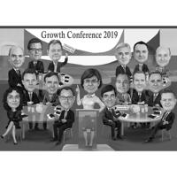 Group Conference Meeting Caricature in Black and White Style from Photo