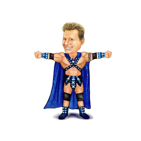 Custom Caricature of Wrestling Superstar in Colored Style from Photos - example