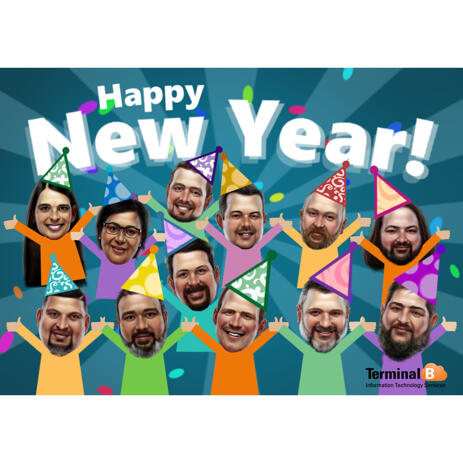 Funny Custom Happy New Year Group Cartoon Drawing for Company Office Party - example