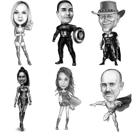 Superhero Caricature from Photos: Full Body, Black and White Style - example