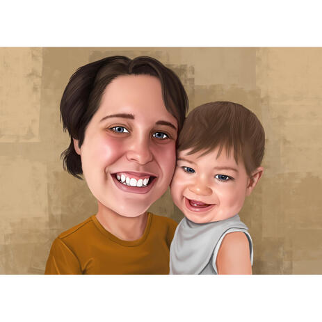 Mother with Baby Caricature Portrait from Photos - example