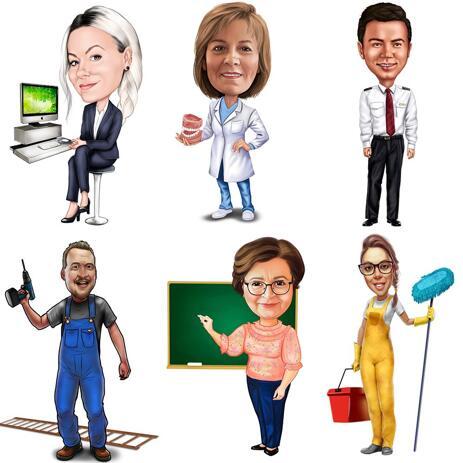 Карикатура человека любой профессии или хобби нарисованная с фотографий в цветном стиле - example