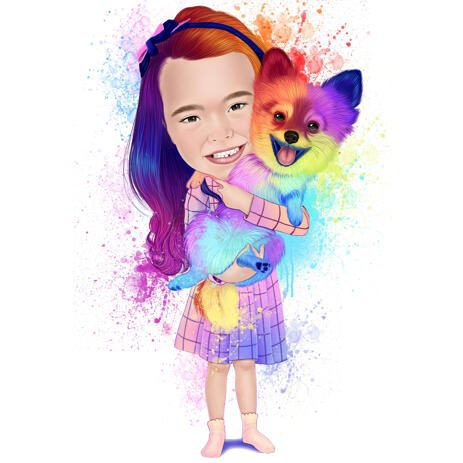 Owner with Pom Dog Full Body Watercolor Rainbow Portrait from Photos - example