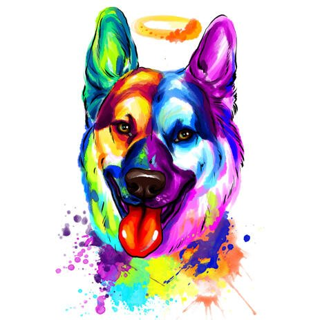 Watercolor Style German Shepherd Dog Loss with Halo Portrait Hand Drawn from Photos - example