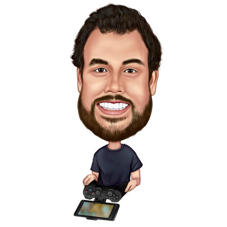 Person Tech Tester Caricature in Exaggerated Style on White Background - example