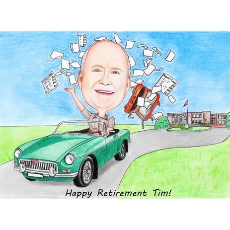 Presente de caricatura de aposentadoria para amantes de carros - example