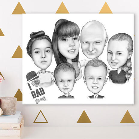 Canvas Print: Family Group Cartoon Drawing - example