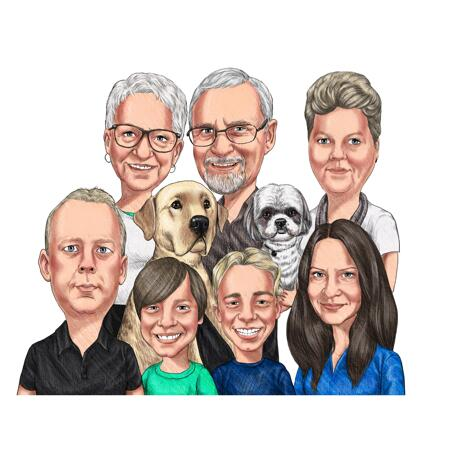 Colored Family Caricature Drawing in Pencils Style - example