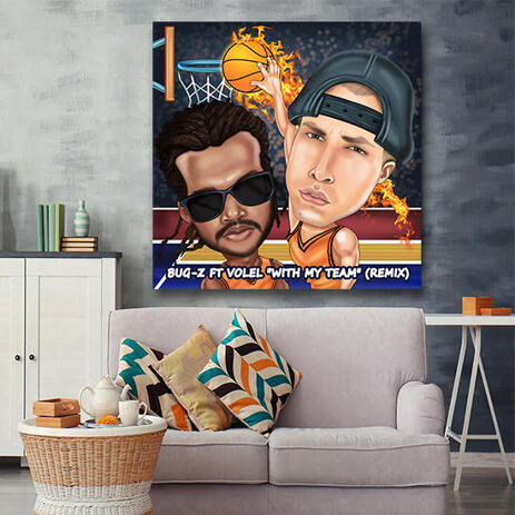 Two Persons Sport Caricature with Custom Background on Canvas - example