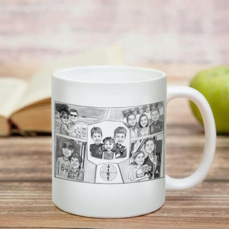 Family Collage Caricature as Mug - example