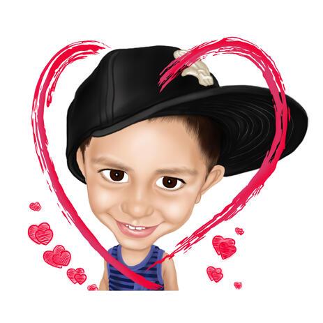 Caricature d'enfant de style coloré dessin à partir de photos en coeur - example