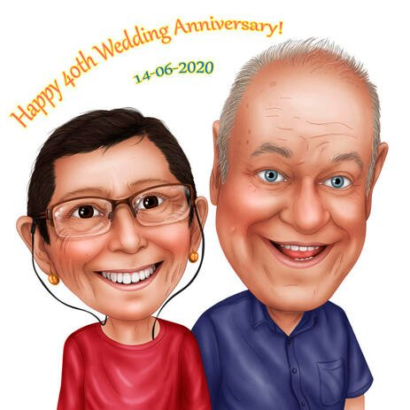 Happy 40th Wedding Anniversary Caricature from Photos - example