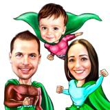 Family Caricature with Random Superhero Costumes in Colored Pencils