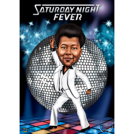 Fiesta Party Person Colored Caricature with Custom Background - example
