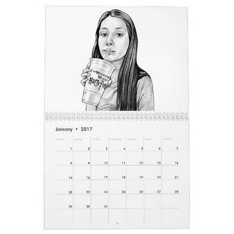 Teen Caricature from Photos as Calendar - example