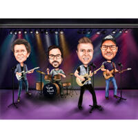 Famous Music Band Caricature in Color Style for Custom Celebrity Gift