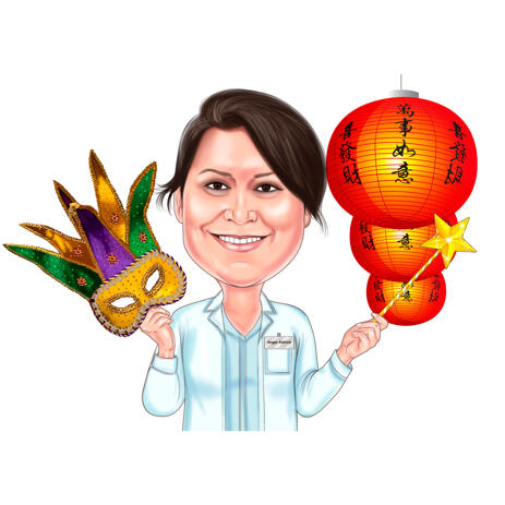 Carnival Party Caricature of Person in Head and Shoulders Colored Style from Photos - example
