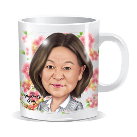 Gift for Mother - Custom Caricature in Color Style with Flower Background Printed on Mug - example