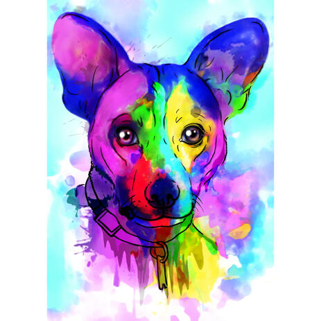 Hand Drawn Corgi Portrait Cartoon from Photo in Rainbow Style with Colored Background - example