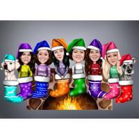 Julstrumpor grupp med husdjur karikatyr med en färg bakgrund