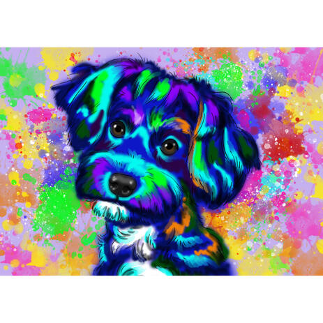 Watercolor Colorful Bichon Frise Dog Breed Portrait with Background - example