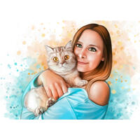 Propriétaire femme avec portrait de chat dans un style aquarelles naturelles