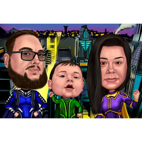 Superhero Family Colored Caricature Painting with New York Background from Photos - example