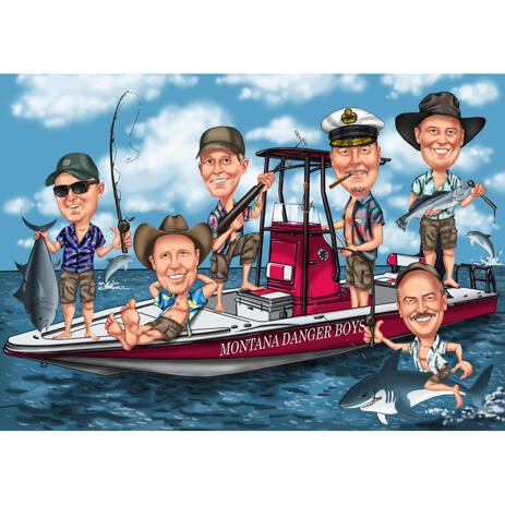 Fishermen Group Caricature on Boat for Fishing Lovers - example