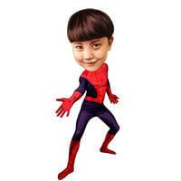 Spider Kid Film inspirierte Karikatur in Farbe Ganzkörperstil Full