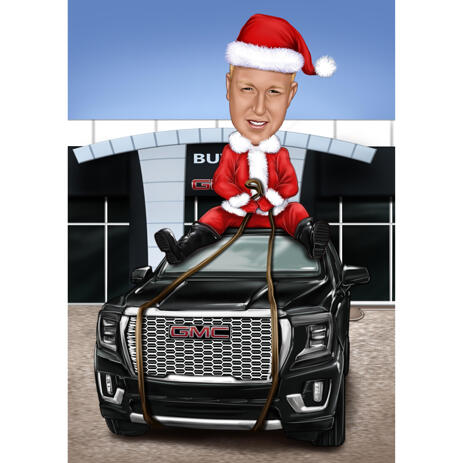 Christmas Caricature as Santa Clause on Vehicle - example
