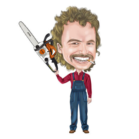 Full Body Worker with Chainsaw Caricature from Photos - example
