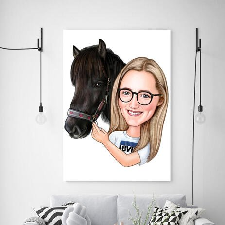 Girl and Horse Caricature Printed as Canvas - example