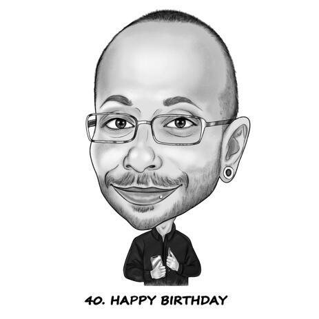 High Exaggerated Caricature in Black and White Pencil Style from Photos for Birthday Gift - example