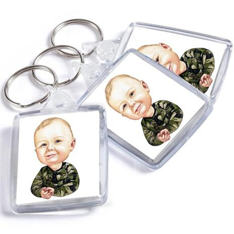 Toddler Caricature from Photos as Keyrings - example