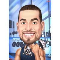 Person med håndvægt Fitness karikatur med gym baggrund fra foto