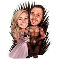 Подарок-карикатура на пару с домашним животным для фанатов Игры престолов