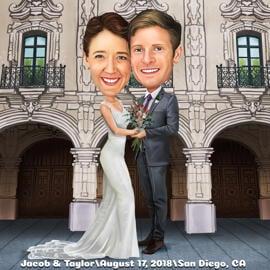 Pilna ķermeņa pāris kāzu karikatūra zīmējums krāsainā digitālā stilā