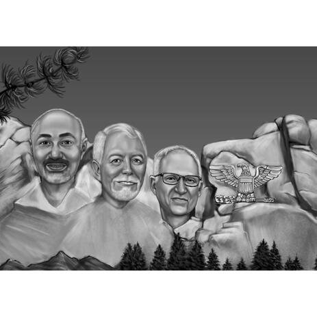 Mount Rushmore Caricature Drawing from Photos - example