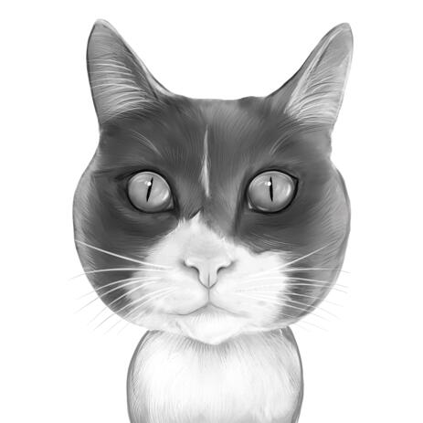 Cat Portrait from Photos in Black and White Style - example