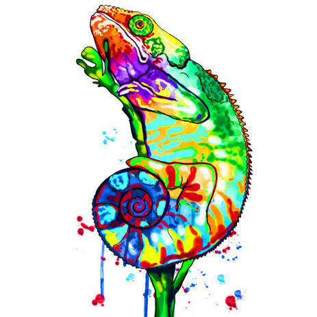 Custom Reptile Caricature Portrait in Rainbow Watercolor Style - example