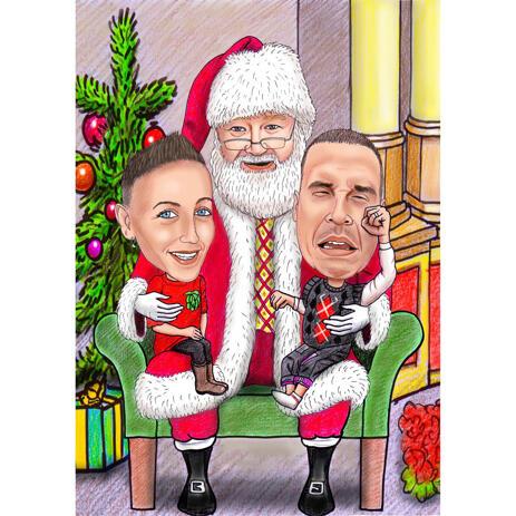 Sentado sobre las rodillas de Papá Noel - Divertida caricatura navideña de fotos - example