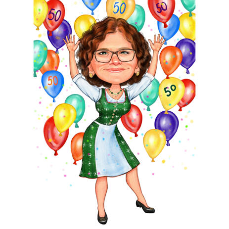 Custom Birthday Gift Caricature for Dear Mom in Colored Style from Photos - example