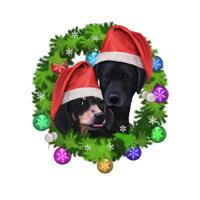 Dackel mit jedem Freund Hund farbige Karikatur im Weihnachtskranz als Geschenk